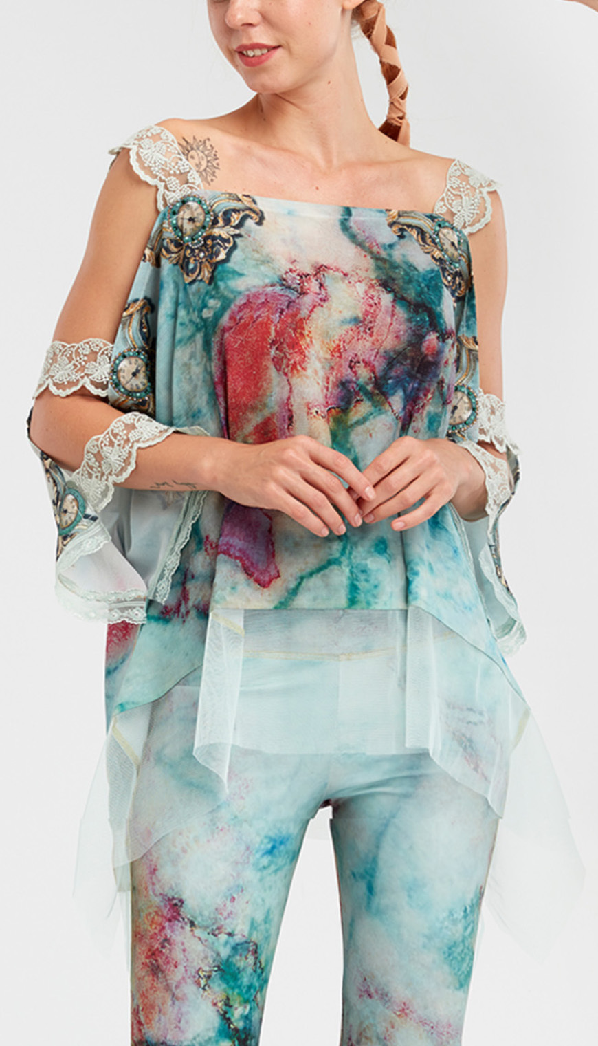 IPNG: Inna Me Rose Reflection Illusion Shawl Blouse Tunic IPNG_TIMSB-044