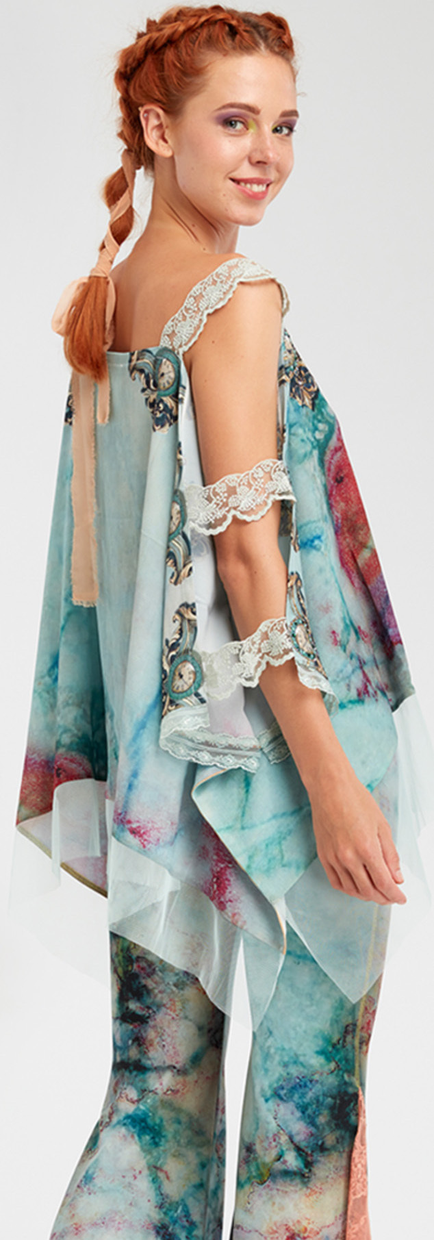 IPNG: Inna Me Rose Reflection Illusion Shawl Blouse Tunic
