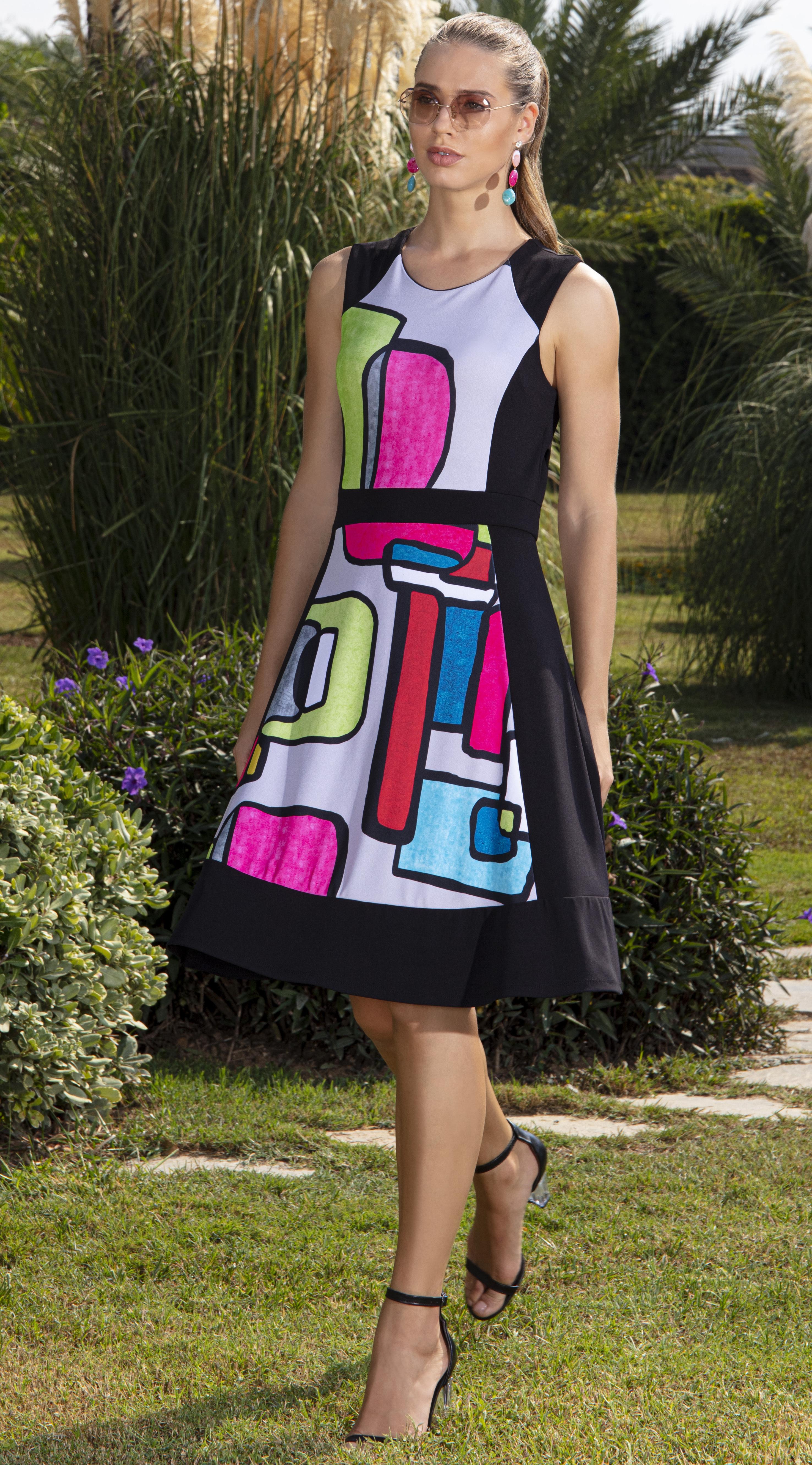 Simply Art Dolcezza: Mid Century Vibrant Romance Abstract Art Dress DOLCEZZA_SIMPLYART_20636