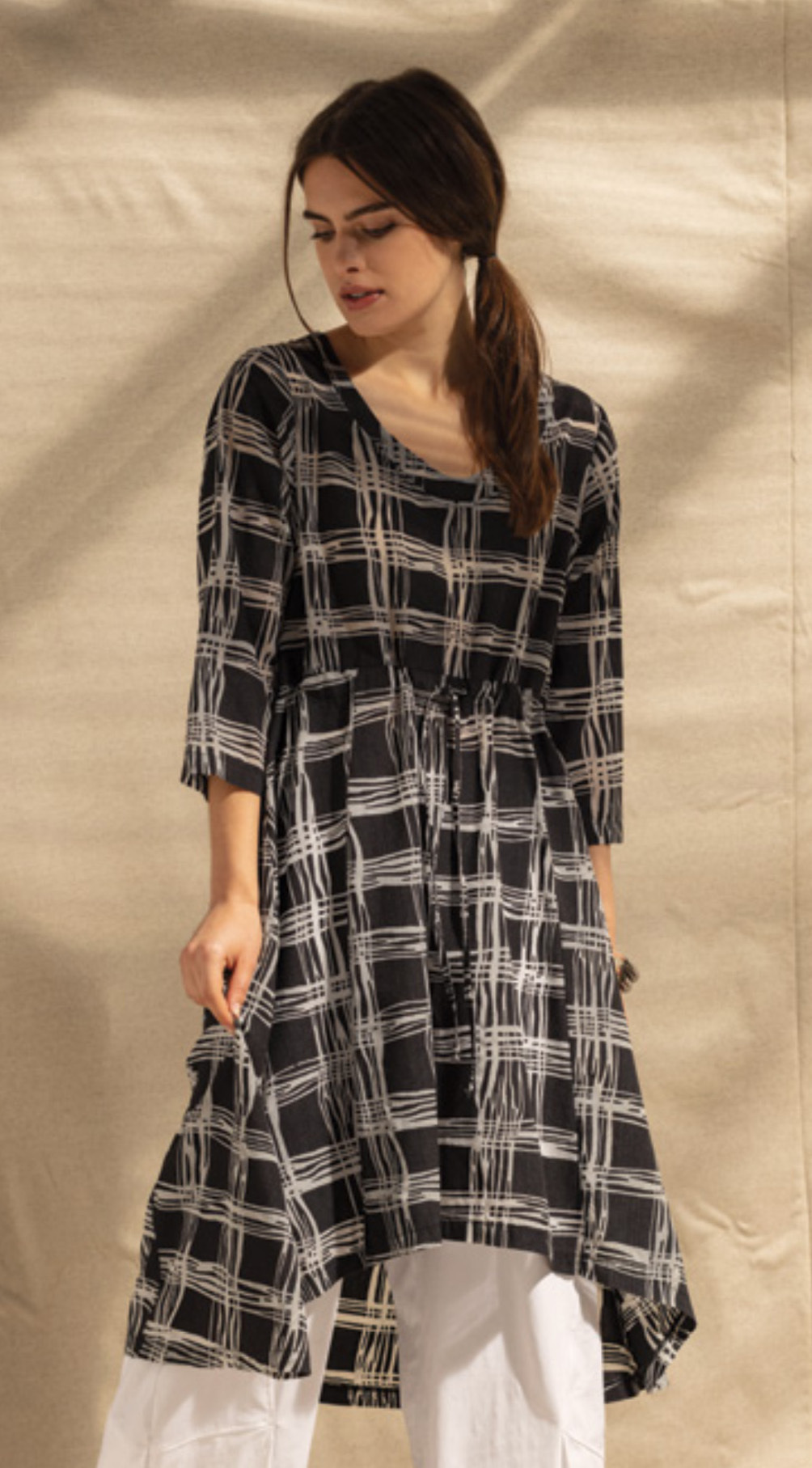 G!oze France: Streets Of Naples Pull Tie Asymmetrical Long Tunic G_DROLE