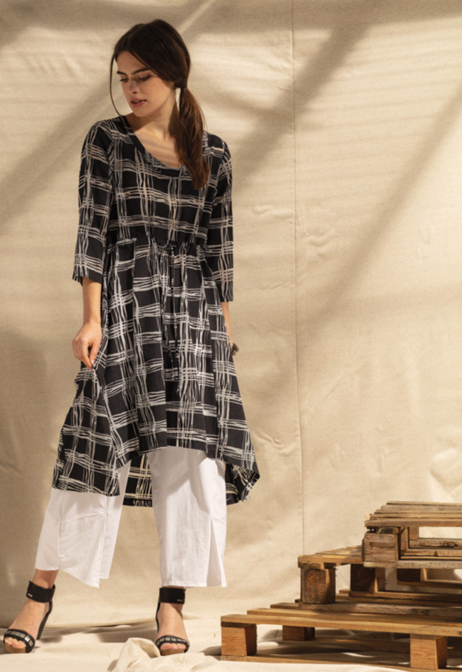 G!oze France: Streets Of Naples Pull Tie Asymmetrical Long Tunic