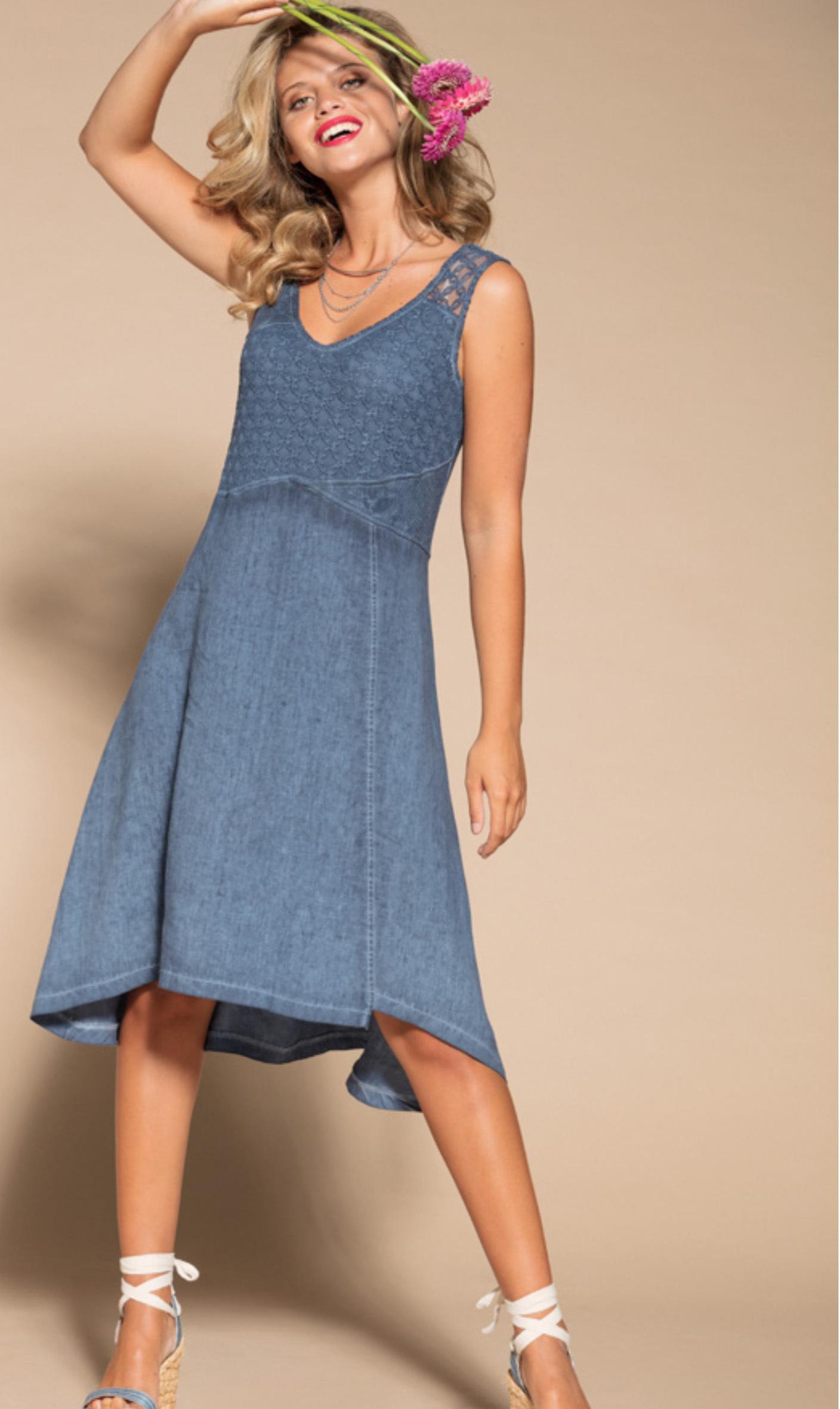 Maloka: Brushed Cotton High Waisted Midi Dress MK_TEDDIE