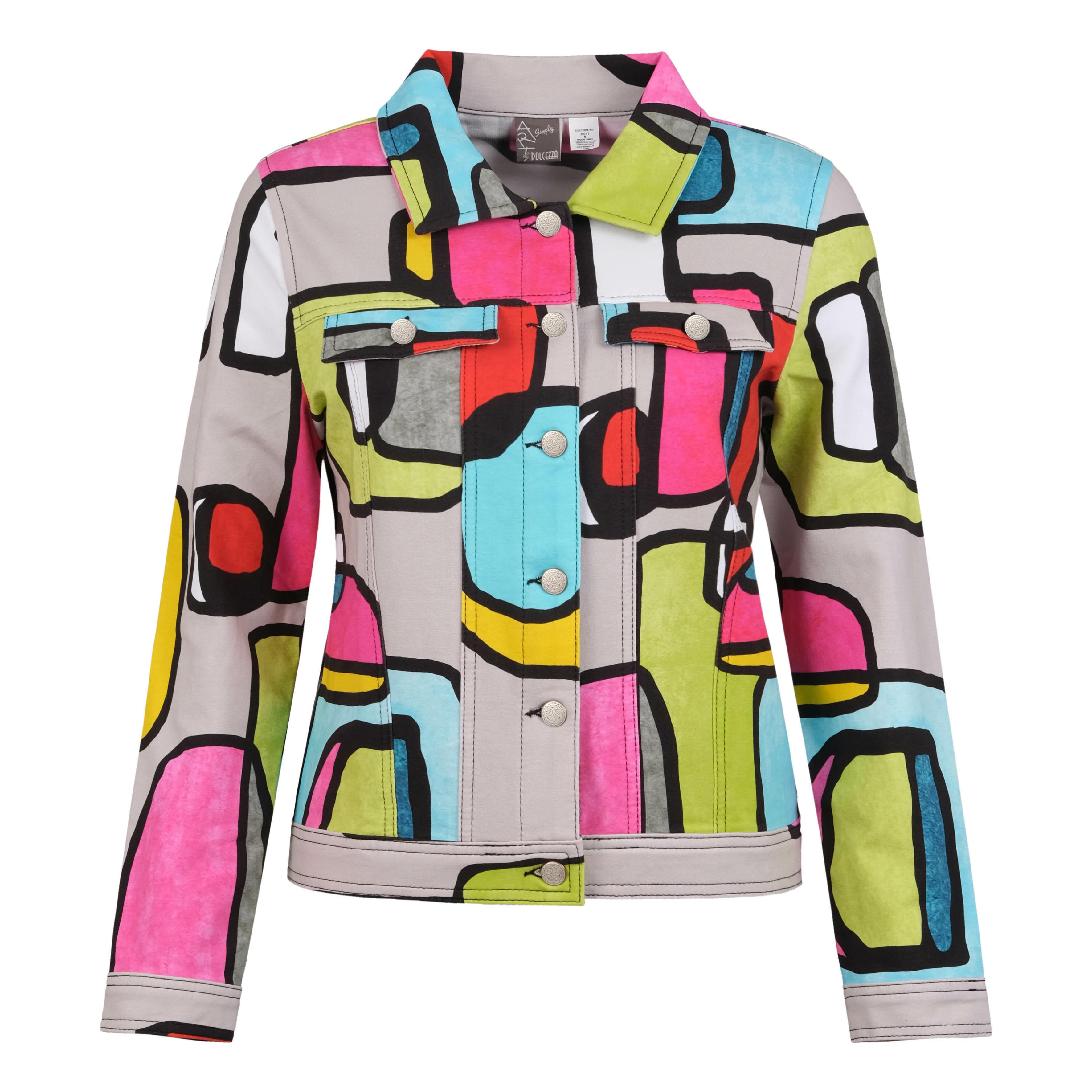 Simply Art Dolcezza: Mid Century Vibrant Romance Abstract Art Soft Denim Jacket Dolcezza_SimplyArt_20770