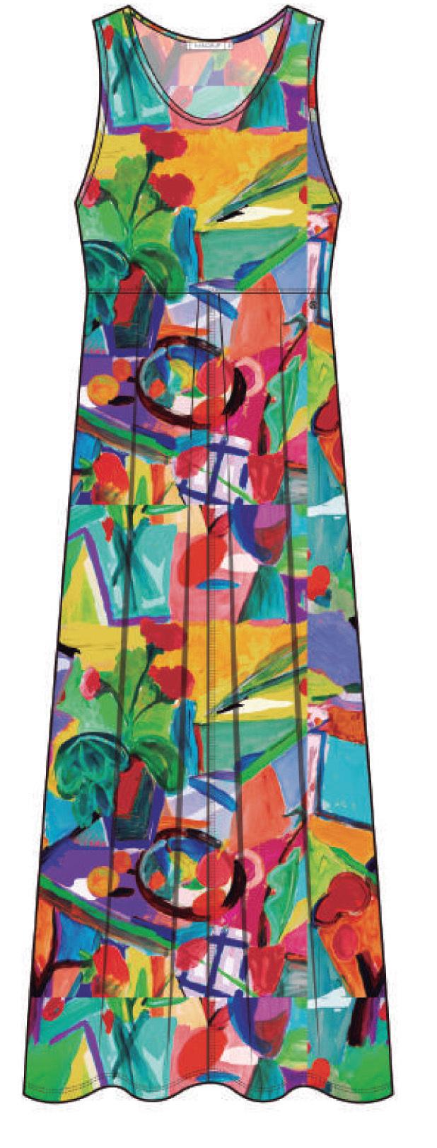 Maloka: Apples & Cherries High Waisted Abstract Art Sundress (More Art Patterns!)