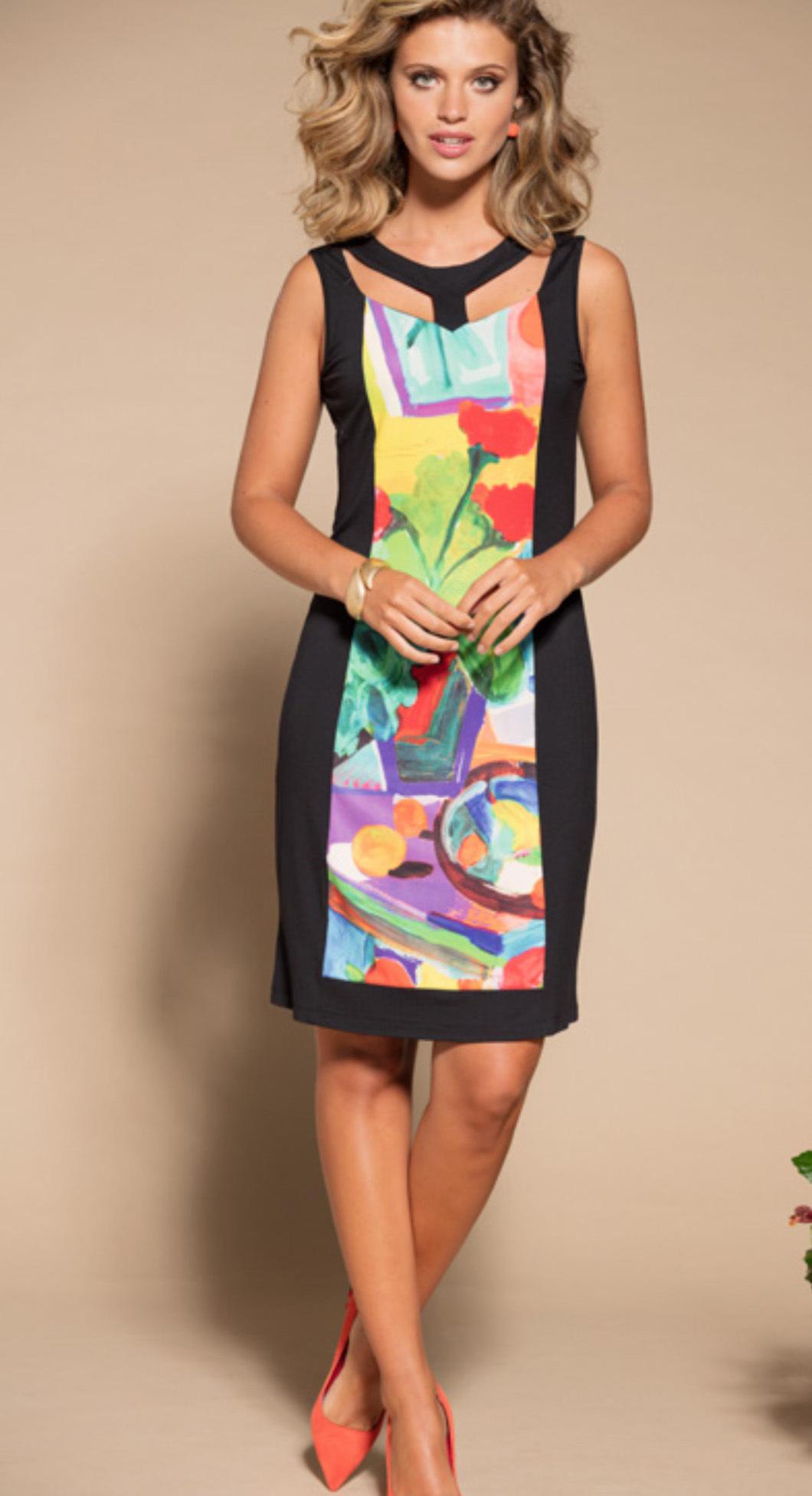Maloka: Apples & Cherries Color Contrast Midi Dress (More Art Patterns!) MK_FLORENCE