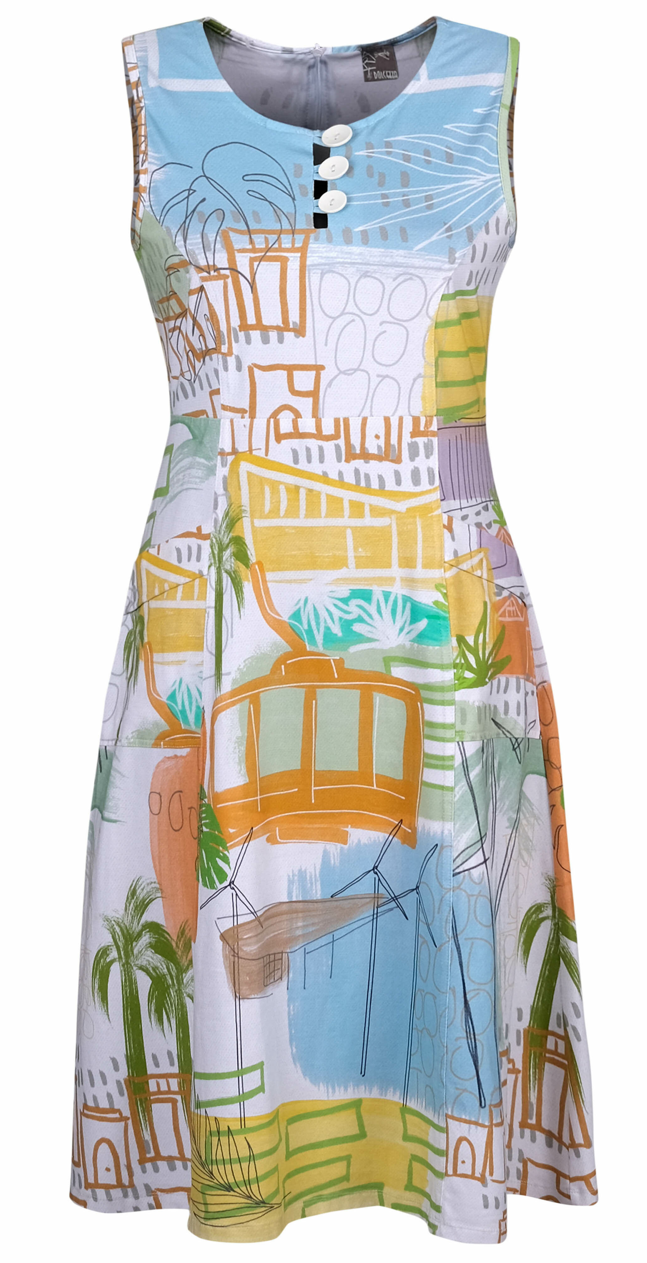 Simply Art Dolcezza: Palm Springs Cityscape Abstract Art Dress