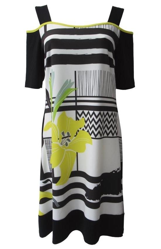 Maloka: Lemon Lime Marble Cold Shoulder Dress/Tunic