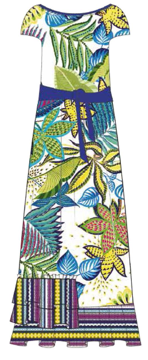 Paul Brial: French Polynesian Flower Crinkled Hem Maxi Dress