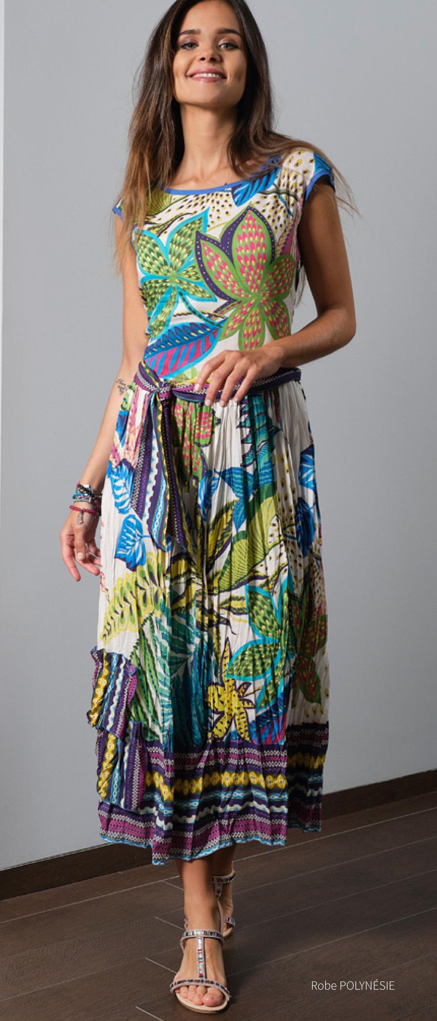 Paul Brial: French Polynesian Flower Crinkled Hem Maxi Dress PB_POLYNESIE