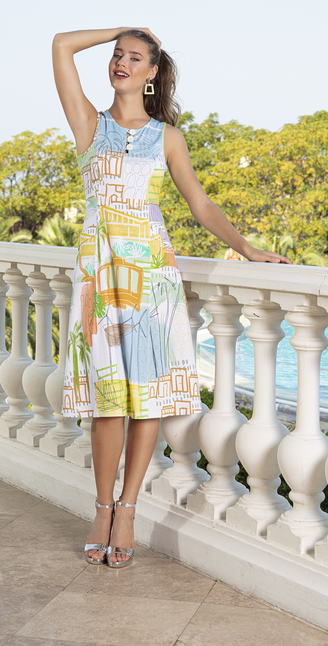 Simply Art Dolcezza: Palm Springs Cityscape Abstract Art Dress Dolcezza_SimplyArt_20666