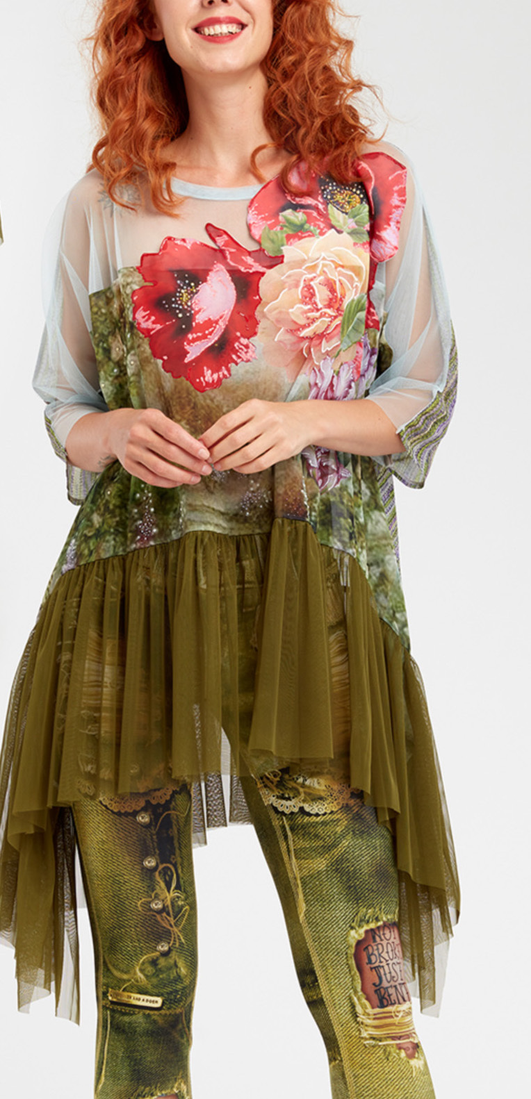 IPNG: In Paradiso Cherry Carnation 3D Illusion Ruffled Long Tunic