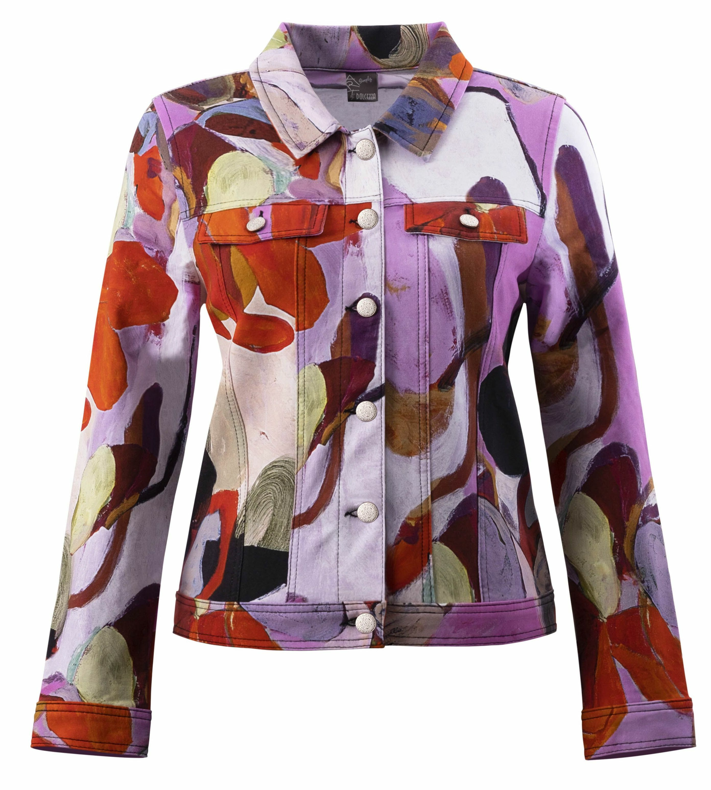 Simply Art Dolcezza: Blooms In Rouge Abstract Art Denim Jacket DOLCEZZA_SIMPLYART_20726