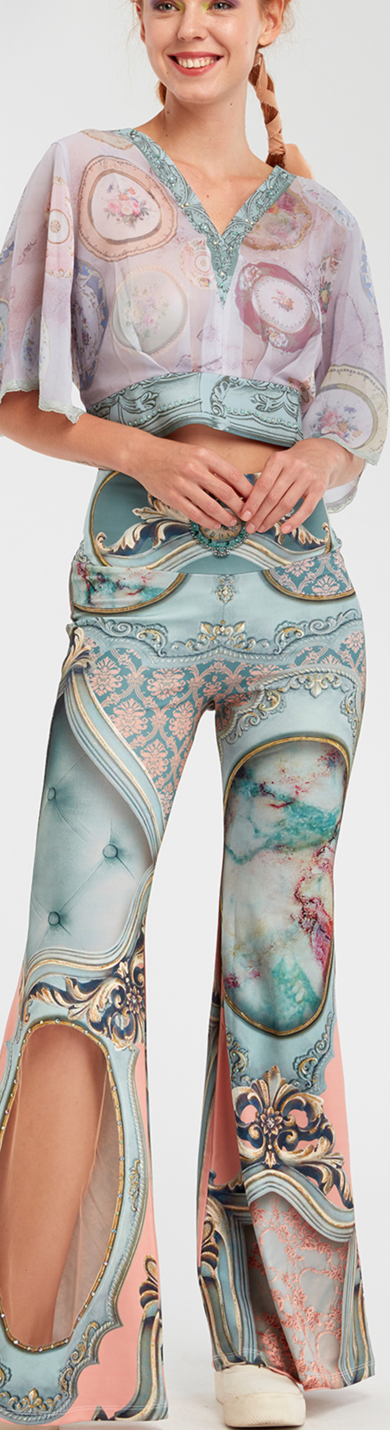 IPNG: Inna Me Royal Rose Cupboard Diamond Illusion Flare Pant