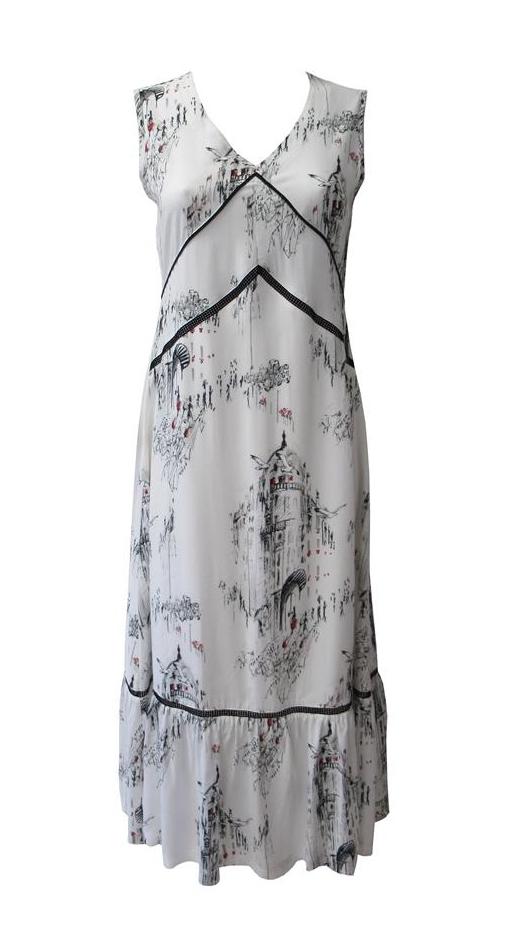 Maloka: A Day In Paris Abstract Art Maxi Dress