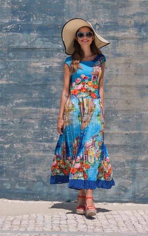 Paul Brial: Colors Of Capri Abstract Art Crinkled Maxi Sundress PB_VENISE