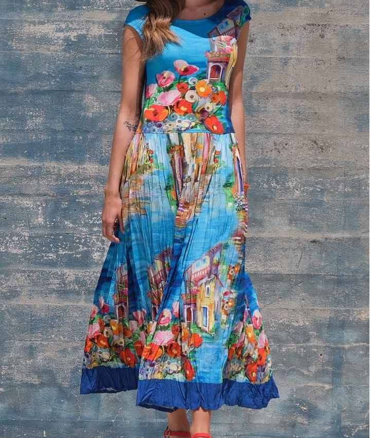 Paul Brial: Colors Of Capri Abstract Art Crinkled Maxi Sundress