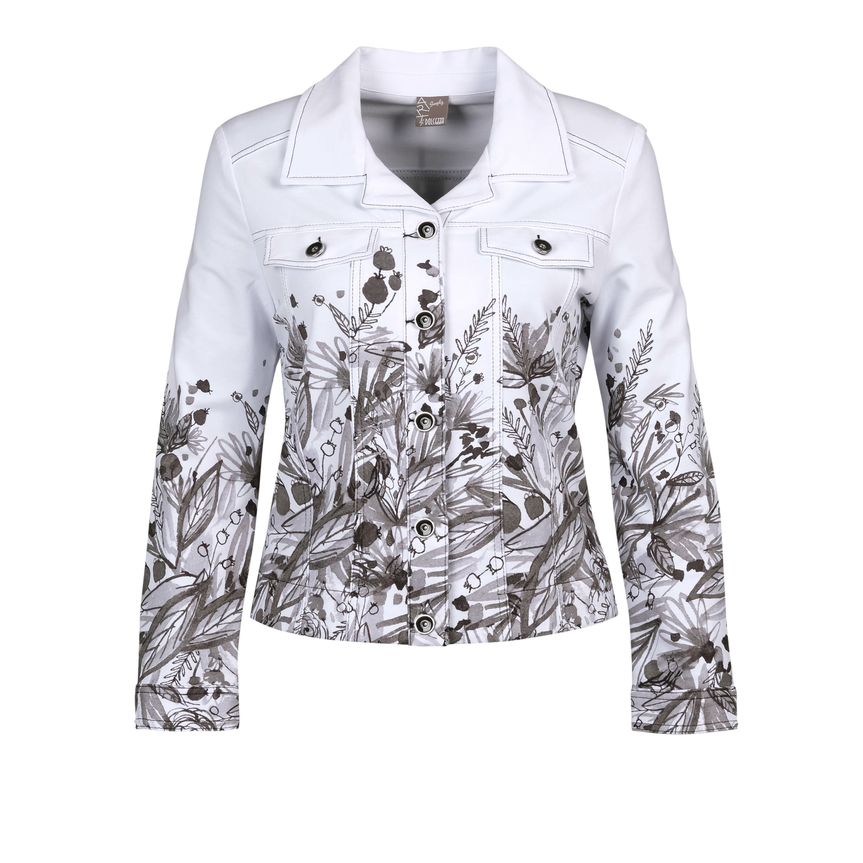 Simply Art Dolcezza: Wild Flowers In Black & White Abstract Art Soft Denim Jacket