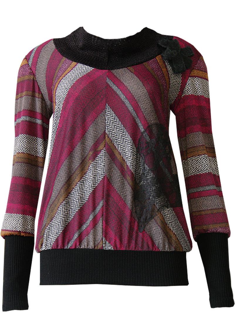 Double Jeu Paris: Crushed Cherry Tweed Sweater (Almost Gone!) DJ_PULLTINTEX_BORDEAU