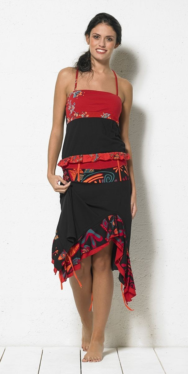 Coline USA: Red Hot Asymmetrical Ruffled Skirt COLINE_JU13659