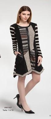 L33 Paris: Asymmetrical Sexy Patch Dress/Coat L33_XM1167_N