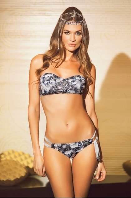 Paradizia Swimwear: Dangling Crystal Bustier Bandeau (Shown with matching Hipkini) PARAD_HAREM12