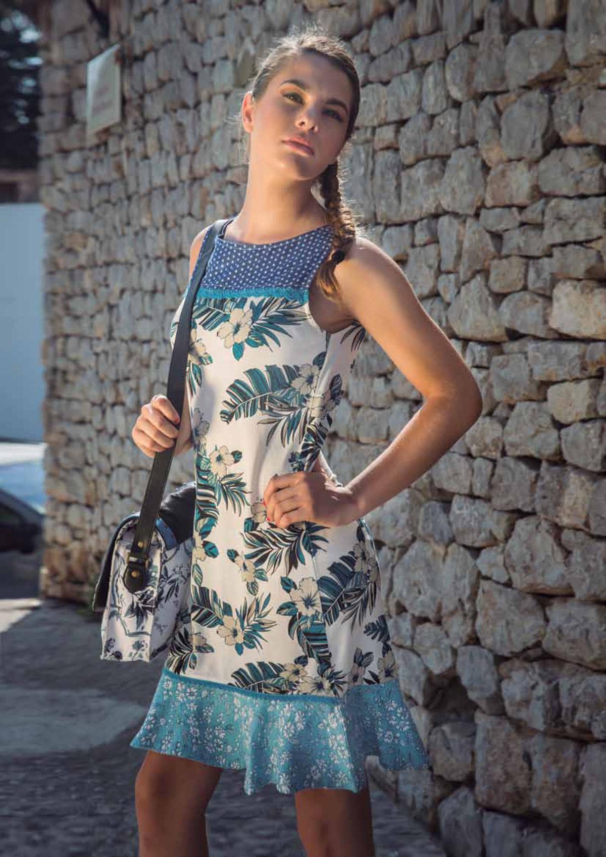 Savage Culture: Ruffled Blue Carnations Sleeveless Mavi Sundress SAVAGE_30194