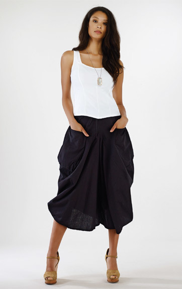 Luna Luz: Draped Cotton Cropped Coulotte Skirt (Many Colors, Some Ship Immed!) LL_216