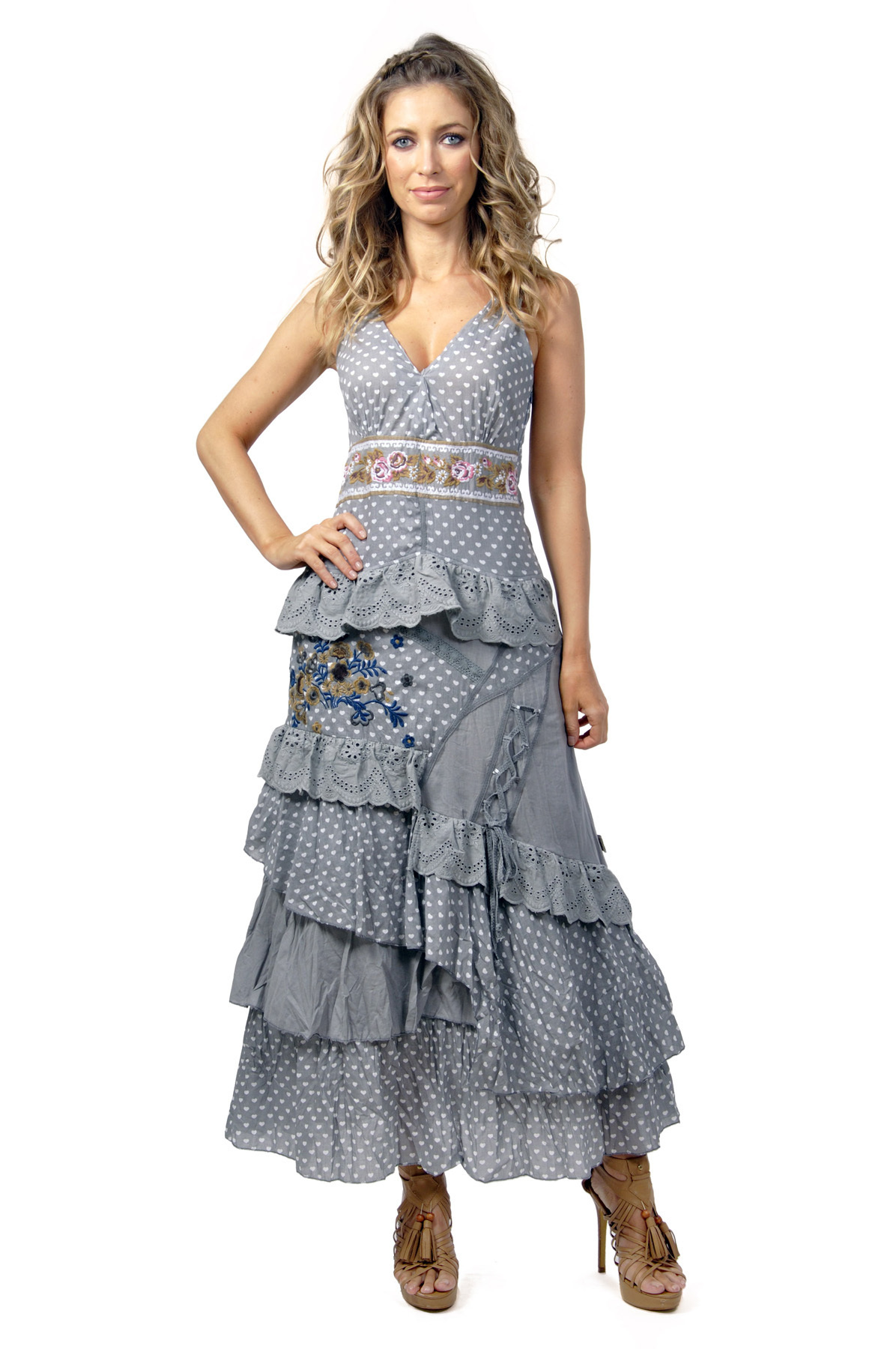 Savage Culture: Lovely Lola Embroidered and Ruffled Long Sundress SAVAGE_30135