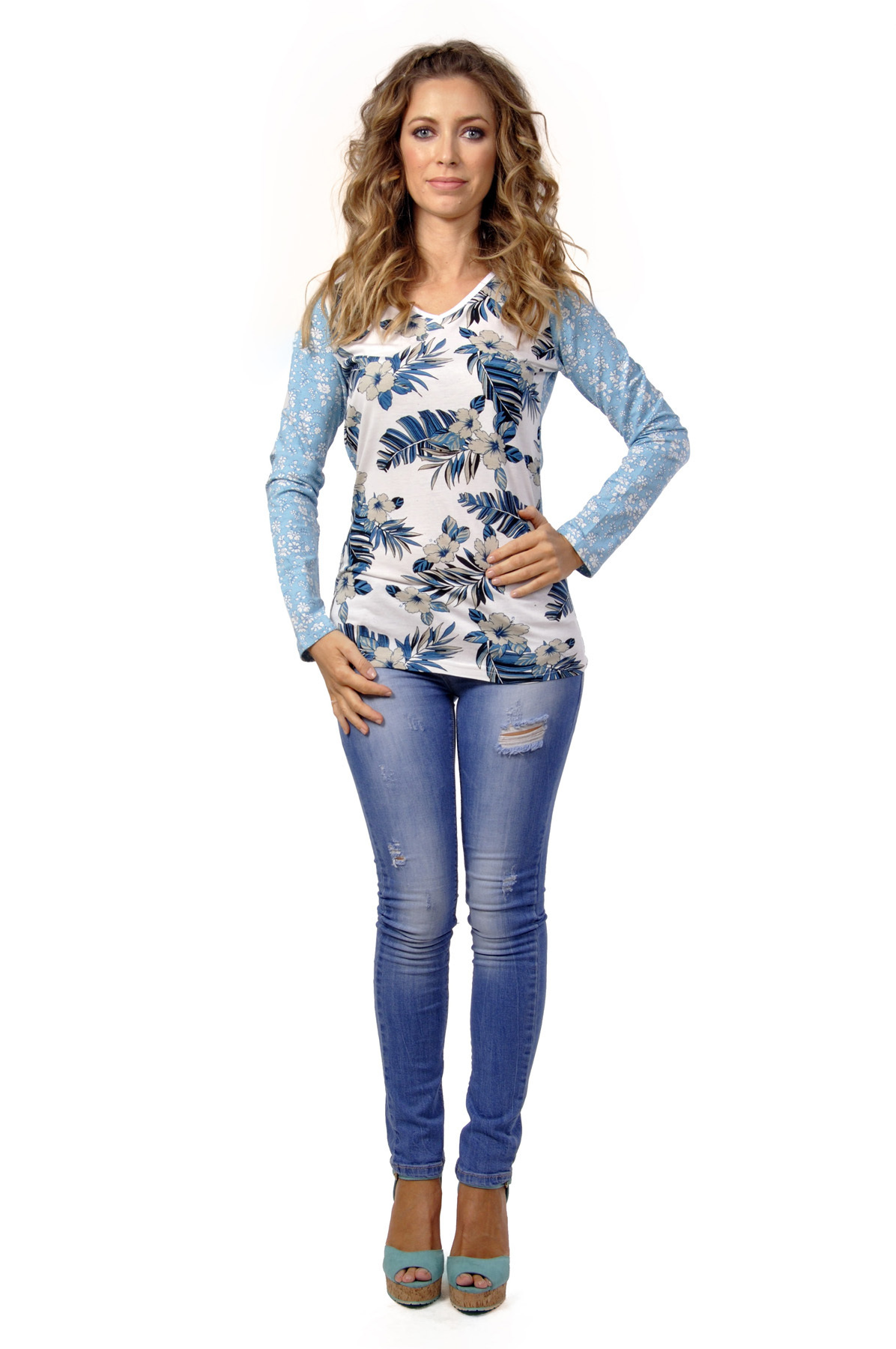 Savage Culture: Blue Carnations Mavi Tunic SAVAGE_30192