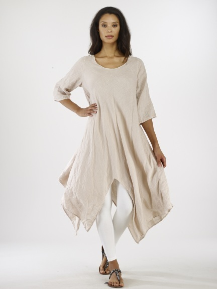 Luna Luz: Asymmetrical Extra Long Linen Tunic (Ships Immed in Linen and Lapis Blue!) LL_786
