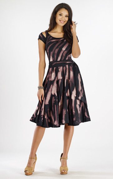Luna Luz: Rain Forest Gored Dress with Cut Out Sleeves (1 Left, Ships Immed!) LL_375Z