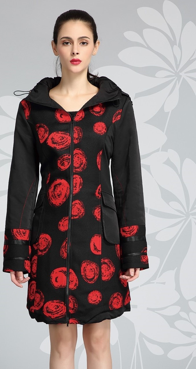 L33 Paris: Abstract Rosette Long Coat L33_XM1423_N2