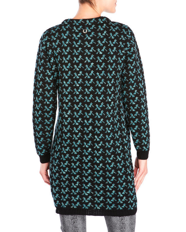 Save The Queen Italy: Embroidered Wool Blue Carnations Sweater Coat
