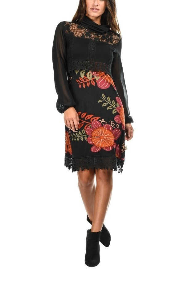 Savage Culture: Orange Cosmos Embroidered Blouson Dress Lola (1 Left!) savage_31152