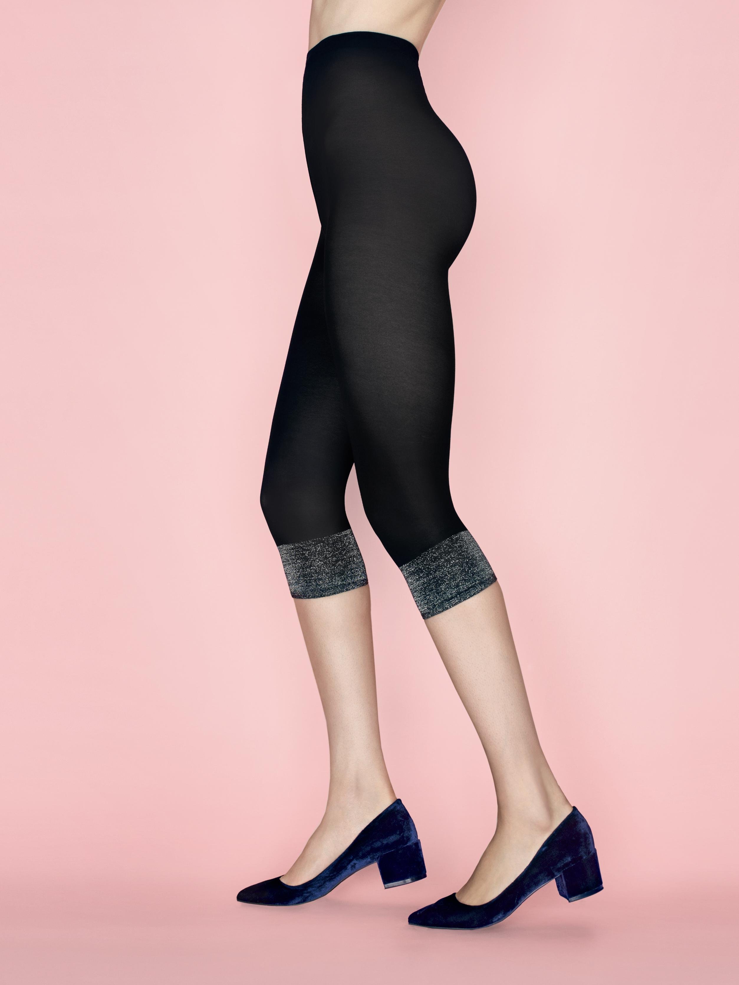 Fiore: Opaque Metallic Patterned Crop Cut Footless Tights (In Black & Creme) FIO_FOXYLADY_N