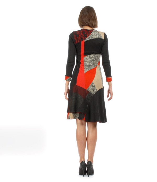 S'Quise Paris: Asymmetrical Color Pieced Midi Dress