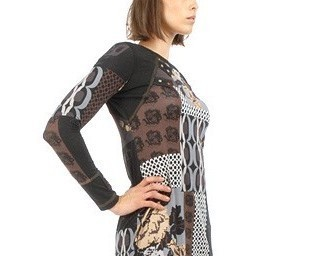 S'Quise Paris: Black Rose Asymmetrically Pieced Color Block Tunic