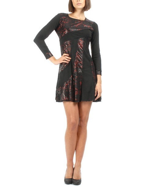 S'Quise Paris: Rosette Fringed Faux Leather Patched Dress SQ_1583R_N1