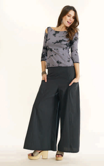 Luna Luz: Wide Leg Dyed Pocket Pant (Ships Immed in Navy & Pale Grey!)
