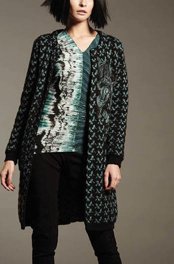 Save The Queen Italy: Embroidered Wool Blue Carnations Sweater Coat STQ_BLUE_COAT_N3