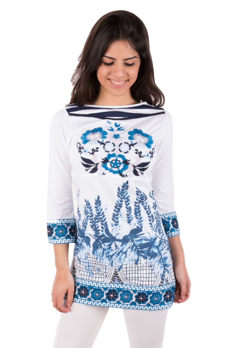 Savage Culture: Blue Coral Cotton Tunic Mar