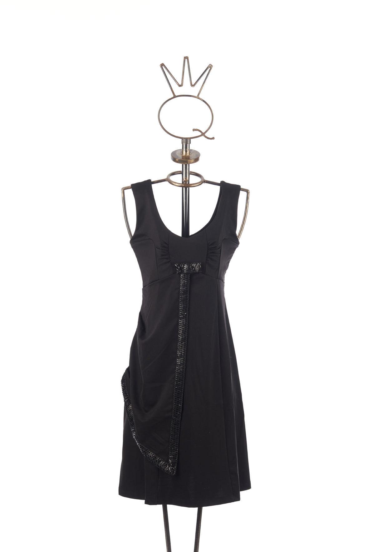 Save the Queen: Asymmetrical Draped Black Bow Dress (1 Left!) STQ_BLACK_BOW_N1