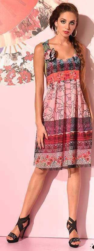 Eroke Italy: Pink Sangria Pleated Dress EROKE_ABF63_N