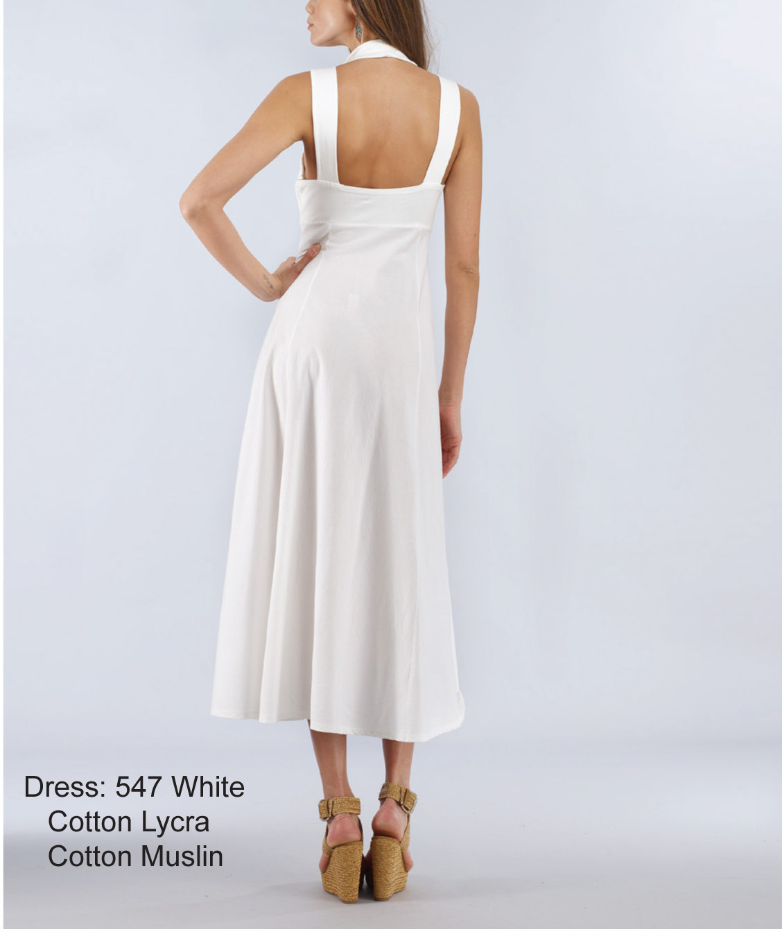 Luna Luz: Diamond Neck Cotton Muslin Dress SOLD OUT