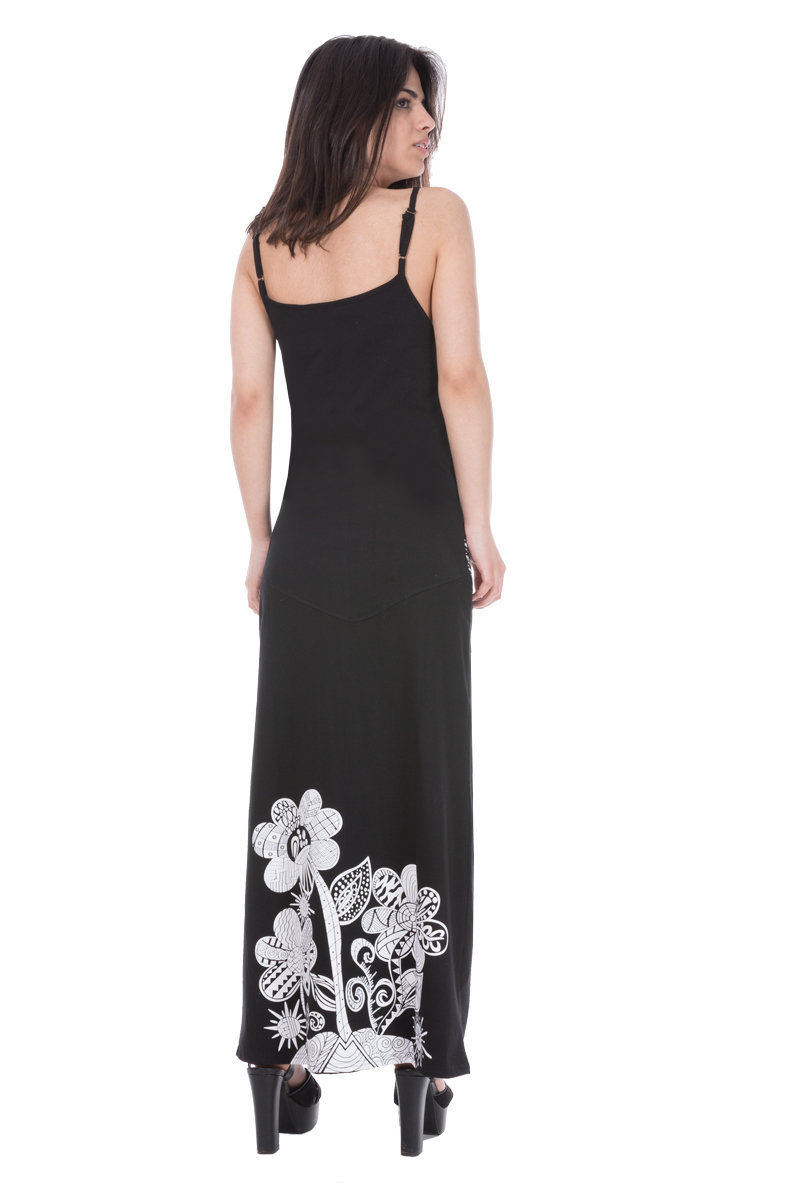 Savage Culture: White Rose Black Canvas Long Maxi Dress Selena SAVAGE_32193