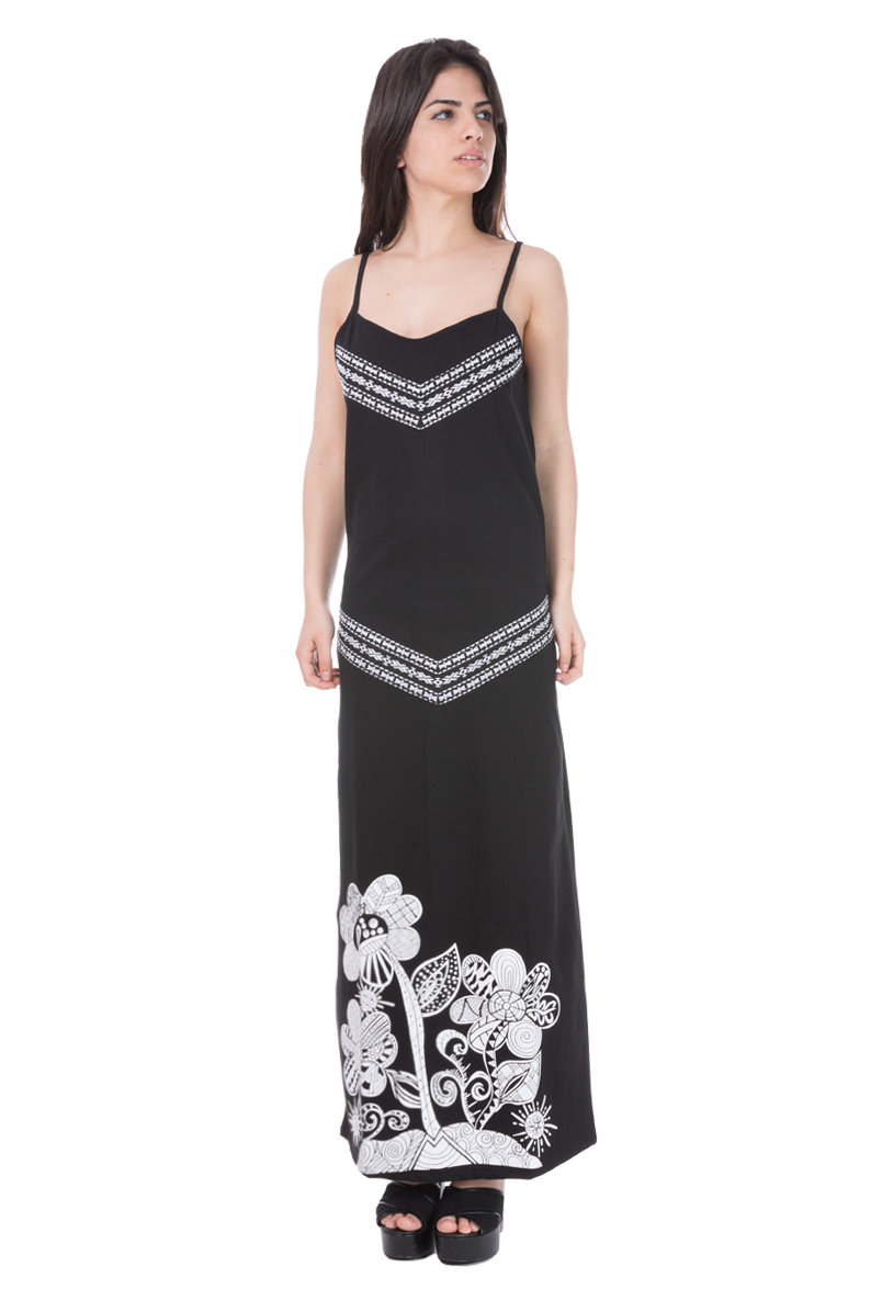 Savage Culture: White Rose Black Canvas Long Maxi Dress Selena