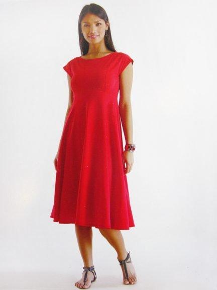 Luna Luz: Cotton Batiste Boatneck Midi Dress (1 Left, Ship Immed!) LL_401