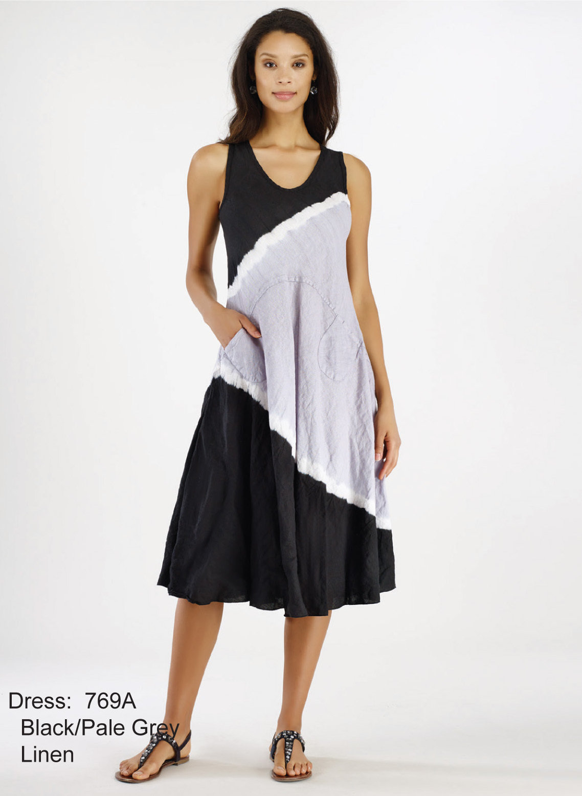 Luna Luz: Linen Gauze Tri-Dye Asymmetrical Pocket Dress (Ships Immed, 1 Left!) LL_769A_N1