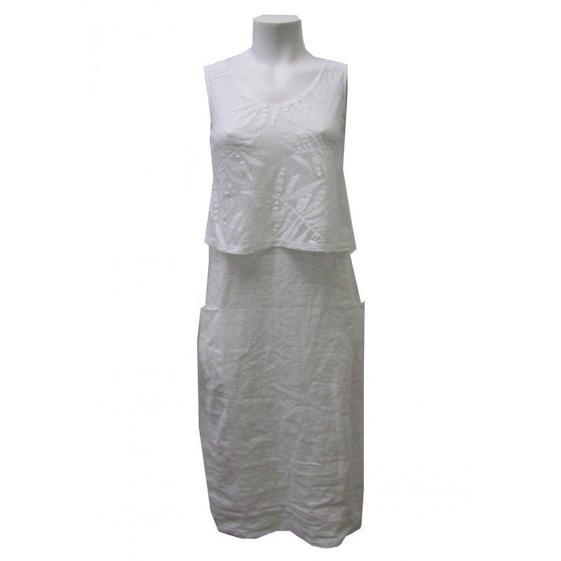 Maloka: Fiji Leaf Bodice Midi Linen Sundress (Many Colors!)
