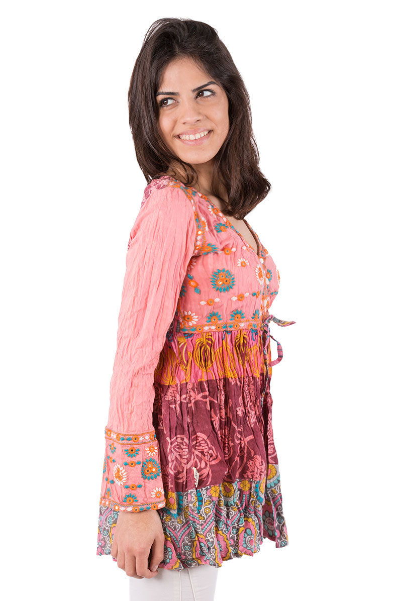 Savage Culture: Purple Lotus Patchwork Cotton Peasant Tunic Ruth